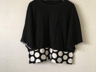 五分袖ドルマン切替え大水玉カットソー 黒×黒白ドットFの画像