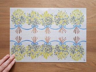 A4サイズ 包装紙/ラッピングペーパー 『ミモザ』30枚入りの画像