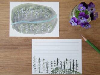 一筆せん/便せん/メモ 「White birch forest」白樺の林の画像