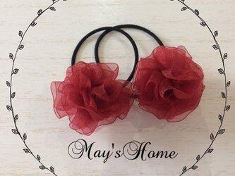 ふんわりお花のヘアゴム2個セット【レッド】の画像