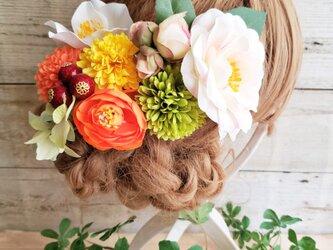 新緑ビタミンカラー 椿とマムの髪飾り9点Set No574の画像