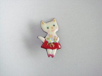 七宝 白猫と花束の画像