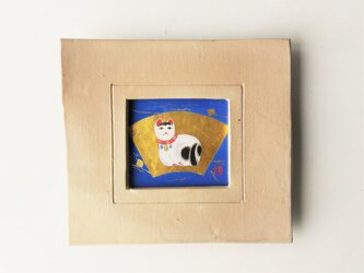 「起土人形/招福猫」日本画【陶器の額縁入り】の画像