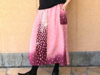 きものリメイクロングスカート、桃色(ピーチピンク)寿柄、オールシーズンの画像