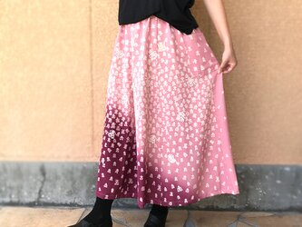 きものリメイクロングスカート、ロング丈、桃色(ピーチピンク)寿柄、オールシーズンの画像