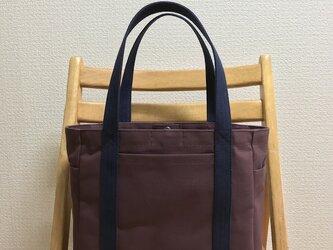「ポケットトート」中サイズ「アズキ×ネイビー(紺)」帆布トートバッグの画像