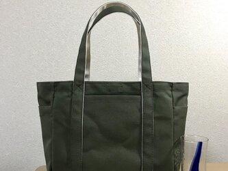 「ポケットトート」通勤トート「オリーブ×生成り」帆布トートバッグの画像