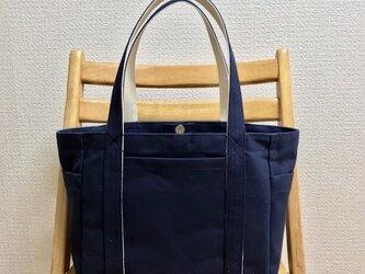 「ポケットトート」中サイズ「ネイビー(紺)×生成り」帆布トートバッグの画像