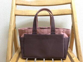 「ボックストート」ミニサイズ 「ファインローズ×アズキ」帆布トートバッグの画像