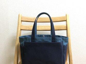 「ボックストート」小サイズ「ミネラルブルー×ネイビー(紺)×マスタード」の画像