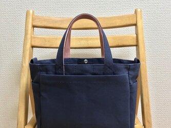 「ボックストート」小サイズ「ネイビー(紺)×ファインローズ」帆布トートバッグの画像