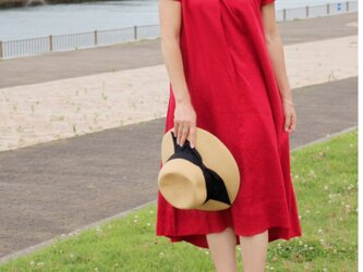 【新作】リネン リラックスワンピース フィッシュテール(赤)の画像