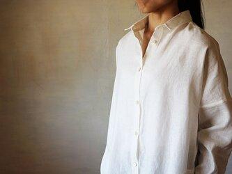 リネンドロップシャツワンピース白の画像