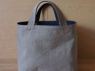 soft cube bag (gray beige/navy) - ソフトキューブバッグの画像
