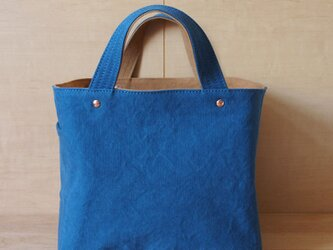 soft cube bag (blue/camel) - ソフトキューブバッグの画像