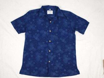 アロハシャツ 本物の着物地仕立て 着物 ウール メンズ レディース ユニセックス 夏 海 総柄 半袖 濃紺色地 つた柄 Lサイズの画像