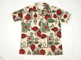 アロハシャツ 本物の着物地仕立て 着物 正絹 メンズ レディース ユニセックス 夏 海 総柄 半袖 ベージュ色地 銘仙 Mサイズの画像