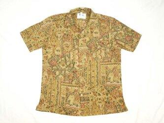 アロハシャツ 本物の着物地仕立て 着物 正絹 メンズ レディース ユニセックス 夏 海 総柄 半袖 茶色地 抽象柄 Mサイズの画像
