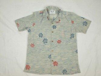 アロハシャツ 本物の着物地仕立て 着物 正絹 メンズ レディース ユニセックス 夏 海 総柄 半袖 水色地 もみじ柄 Sサイズの画像
