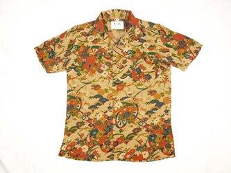 アロハシャツ 本物の着物地仕立て 着物 正絹 メンズ レディース ユニセックス 夏 海 総柄 半袖 茶色地 花柄 Sサイズの画像