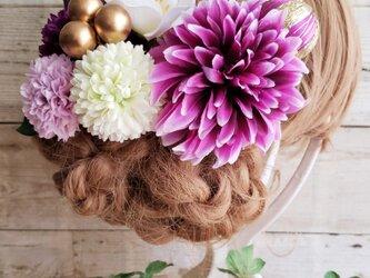 花詩 パープル系ダリアとマムの髪飾り9点Set No575の画像