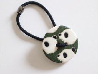 磁器ボタンゴム 丸 パンダ グリーンの画像