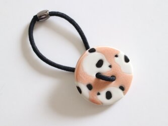 磁器ボタンゴム 丸 パンダ ピンクの画像