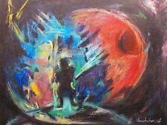 絵画 インテリア キャンバス画 油絵 一点もの 出立の時の画像
