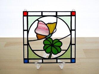 ステンドグラス ミニパネル クローバー 15cmの画像