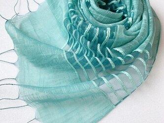 *緑青色*透かし織 コットンシルクストールの画像