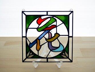 ステンドグラス ミニパネル 花 15cmの画像