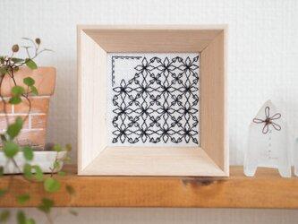 ブラックワーク刺しゅうのミニフレーム 【Rhombus 菱形】の画像