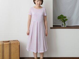【S】アーミッシュ風シンプルワンピース◇ボタニカル柄(ピンク) *薄手生地*の画像