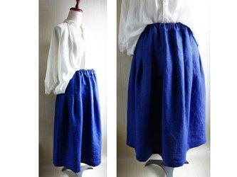 厚手アイリッシュ リネンのタックスカート 青 74㎝丈 春夏秋の画像