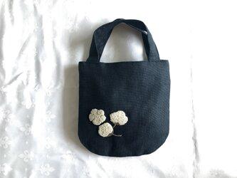 めんか刺繍のリネンミニバッグ(ネイビー)の画像
