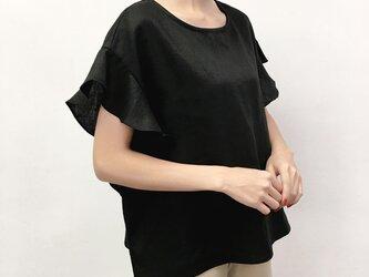 en-enフランスリネン・フリル袖・黒(特集掲載の商品)の画像