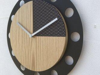 甲州印伝クロック/feeLife clock model 02:瓢箪 青/白 No.02008の画像