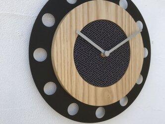 甲州印伝クロック/feeLife clock model 01:紗綾 青/白 No.01039の画像