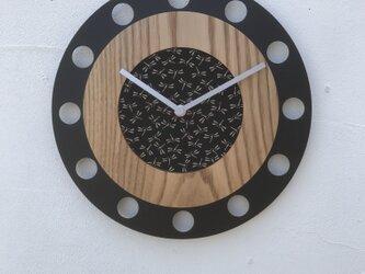 甲州印伝クロック/feeLife clock model 01:とんぼ 黒/白 No.01047の画像