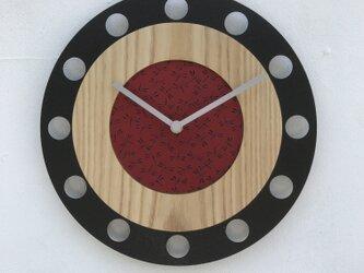 甲州印伝クロック/feeLife clock model 01:とんぼ赤/黒 No.01055の画像