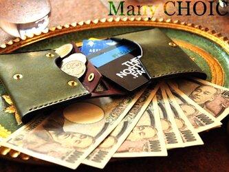 イタリアンレザー・革新のプエブロ・コンパクト2つ折り財布(オリーバ×ショコラ)の画像