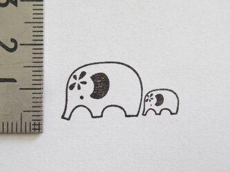 スタンプ/ゴム印/はんこ 「親子のゾウ」の画像