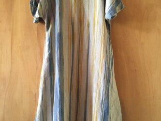 ▪️現品限り▪️青とみかん色雫柄の華奢見せ、麻のロングワンピースの画像