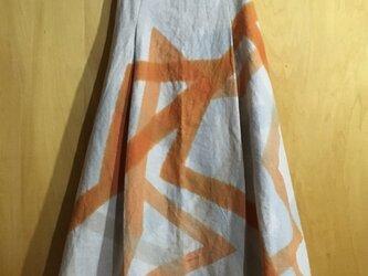 ▪️現品限り▪️麻のロングタックスカート*シャーベットオレンジ色の交差柄の画像
