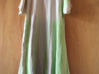 ▪️現品限り▪️麻のシャーベットグリーンの華奢見せロングワンピースの画像