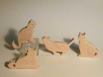 木のパズル 四匹の猫cの画像
