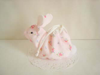 可愛いうさぎのミニ巾着(ピンク花柄コットン)の画像
