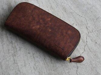 【カラーオーダー】プエブロ ロングサイズラウンドファスナーウォレット【タバコ】手縫いの画像