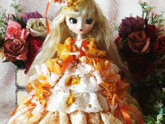 社交界のマドンナ プリンセスシャービックオレンジのリボンフリルデザインドレスの画像