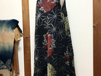 着物リメイク 紬 フレアーワンピースの画像